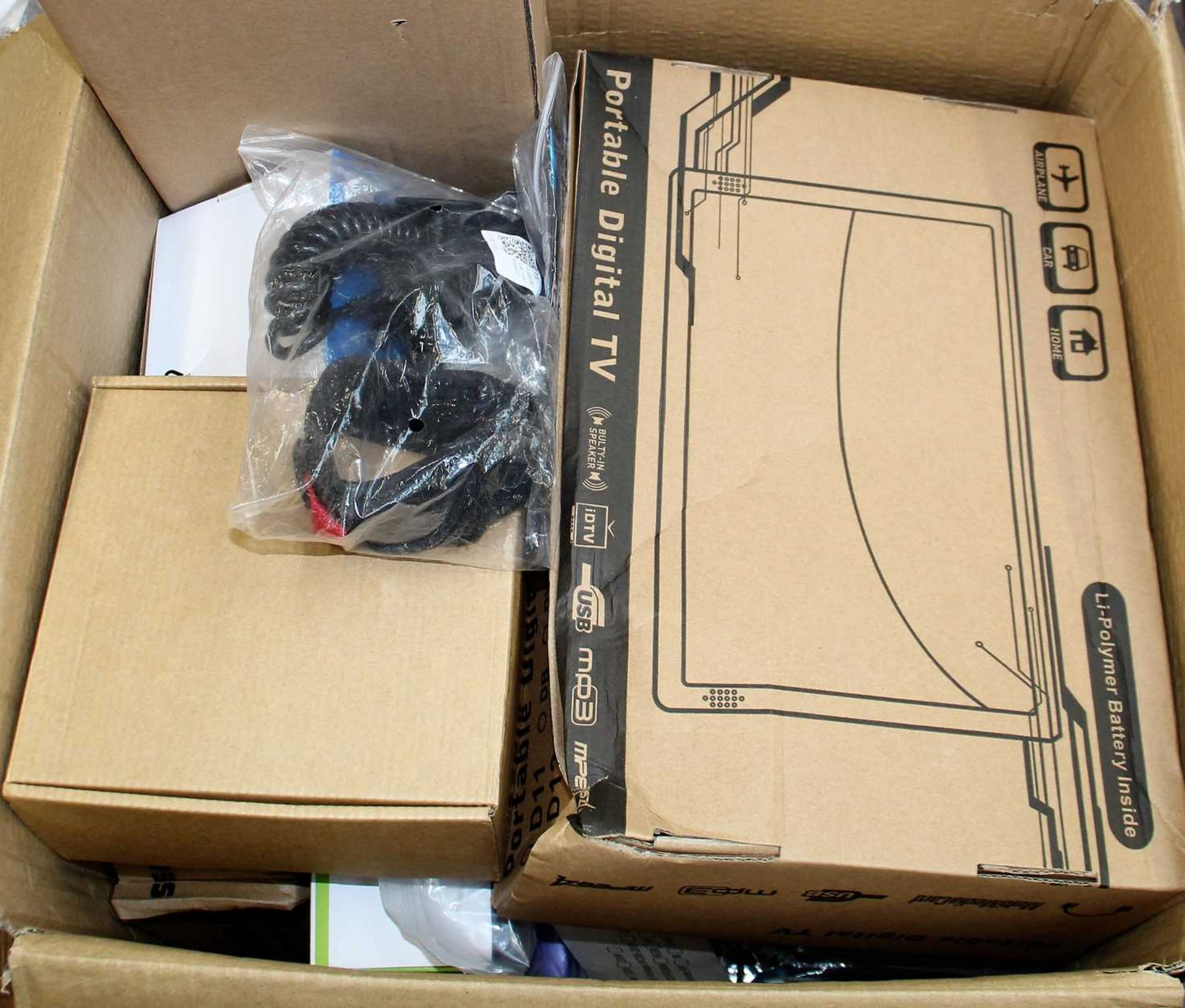 COLLECTION ONLY: A box of assorted as new small electrical items and accessories.