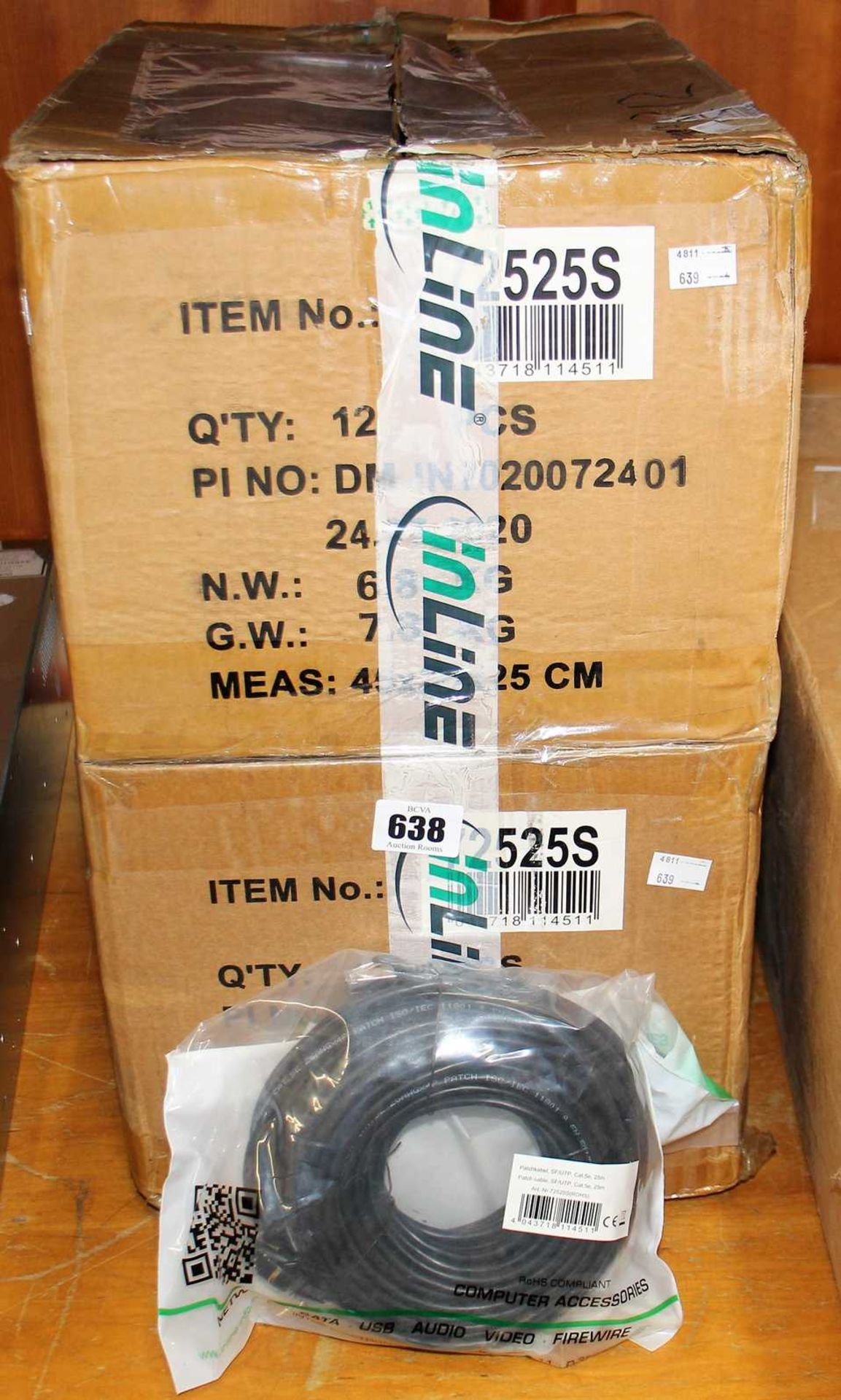 Twenty four as new InLine SF/UTP Cat.5e 25m Patch Cables in Black (ART NO: 72525S ROHS). - Image 2 of 2