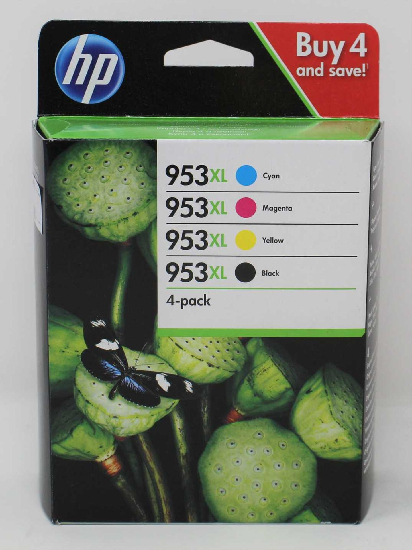 A boxed as new HP 953XL High Capacity Black & Colour Ink Cartridge 4 Pack (3HZ52AE) (Expiry May