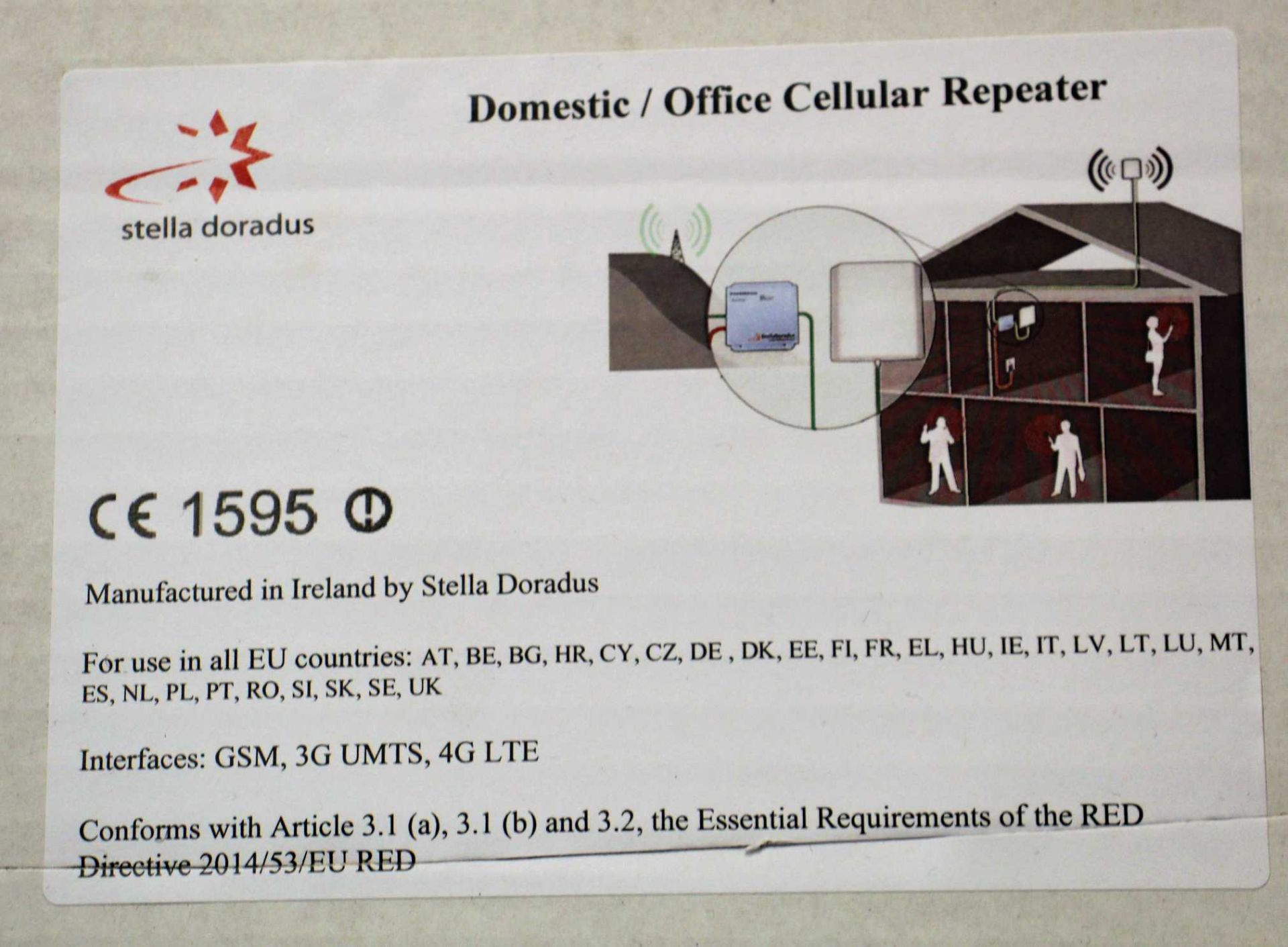 A boxed as new Stella Doradus StellaOffice Repeater 800 + 900MHz SD-RP1002-LG-4P (UK plug adaptoer - Image 2 of 2
