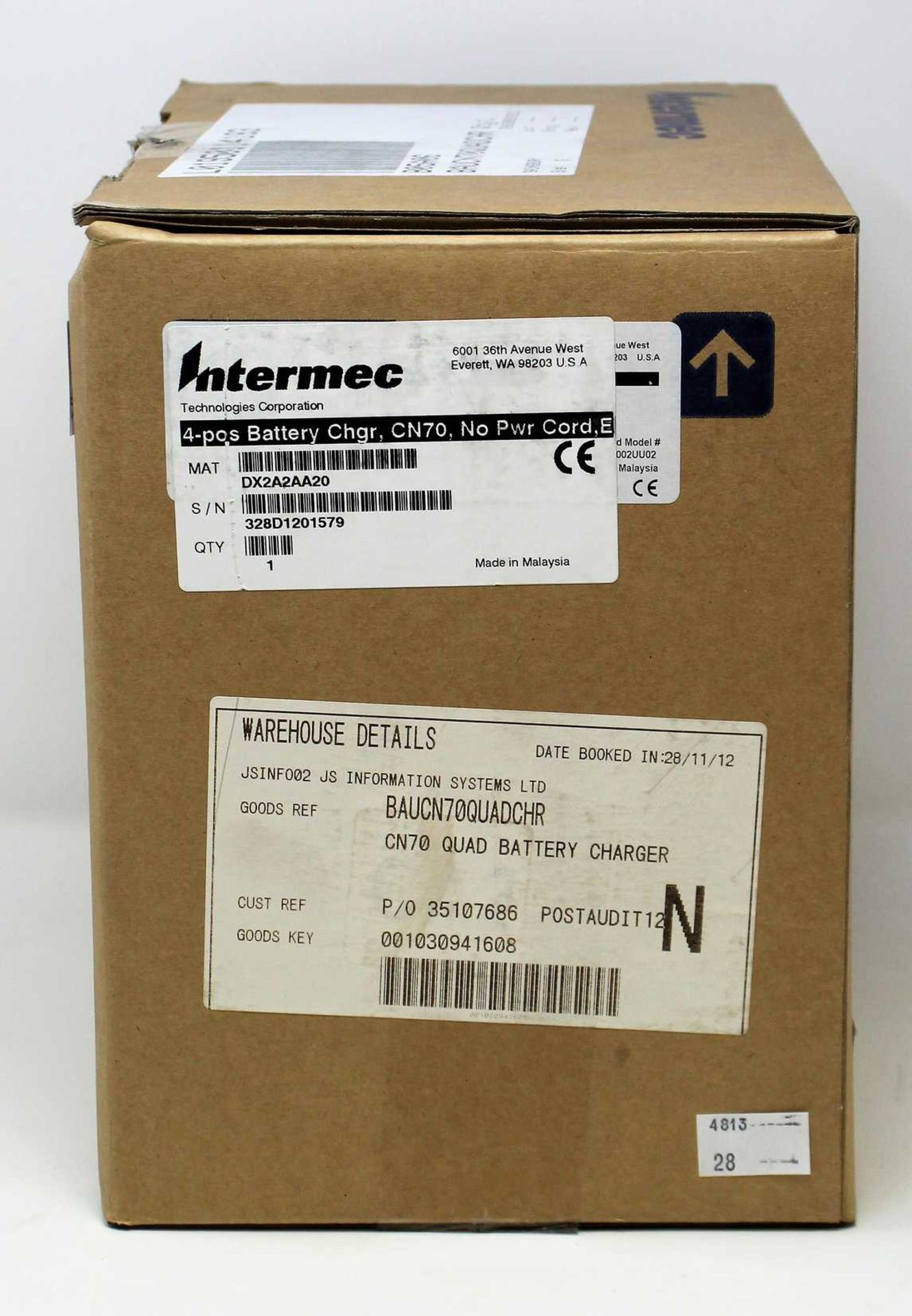 A boxed as Intermec DX2A2AA20 4 Bay Battery Charger For CN70 Barcode Scanners.