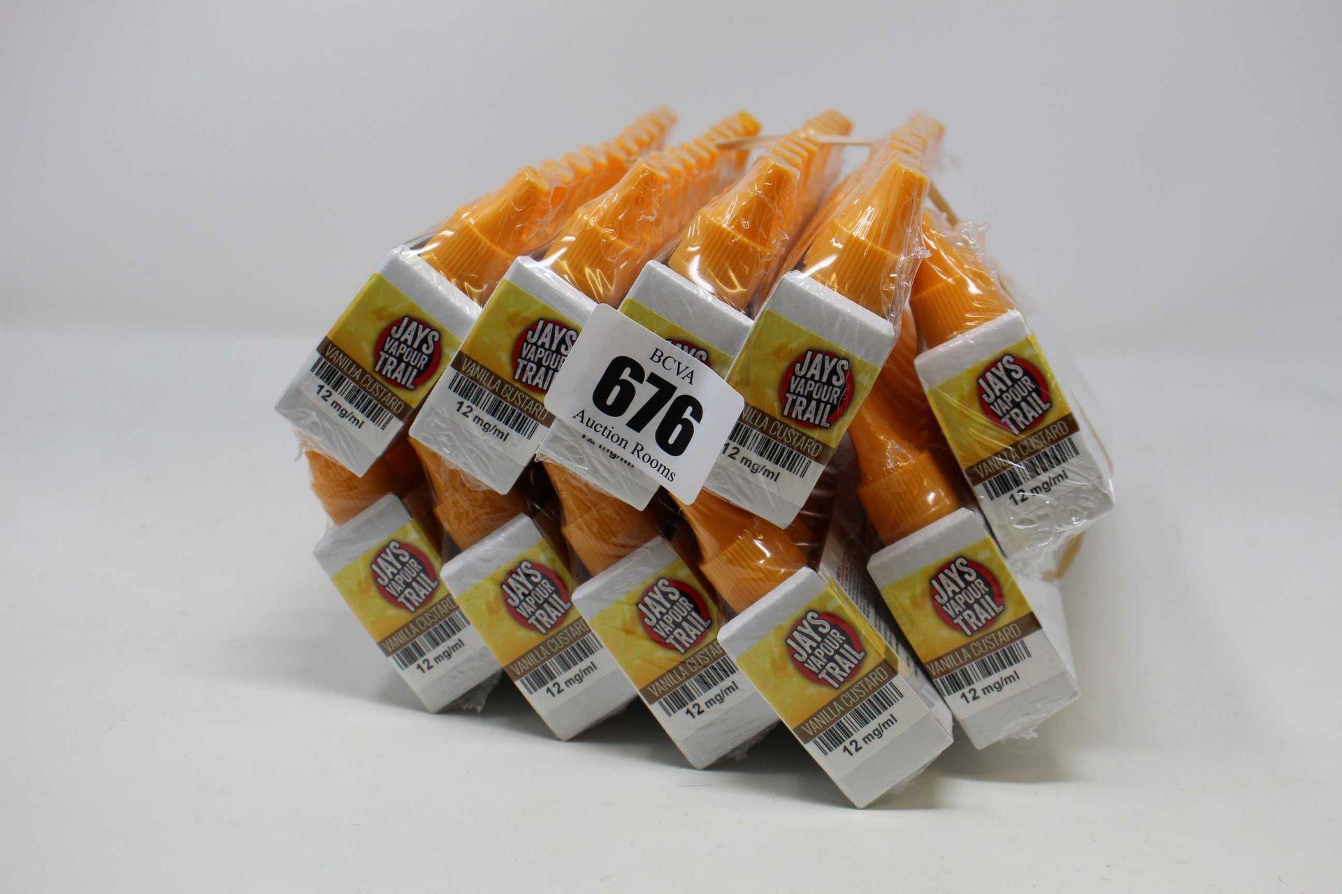 Ten packs of ten 10ml/12mg vape liquid in vanilla custard flavour (Over 18s only).