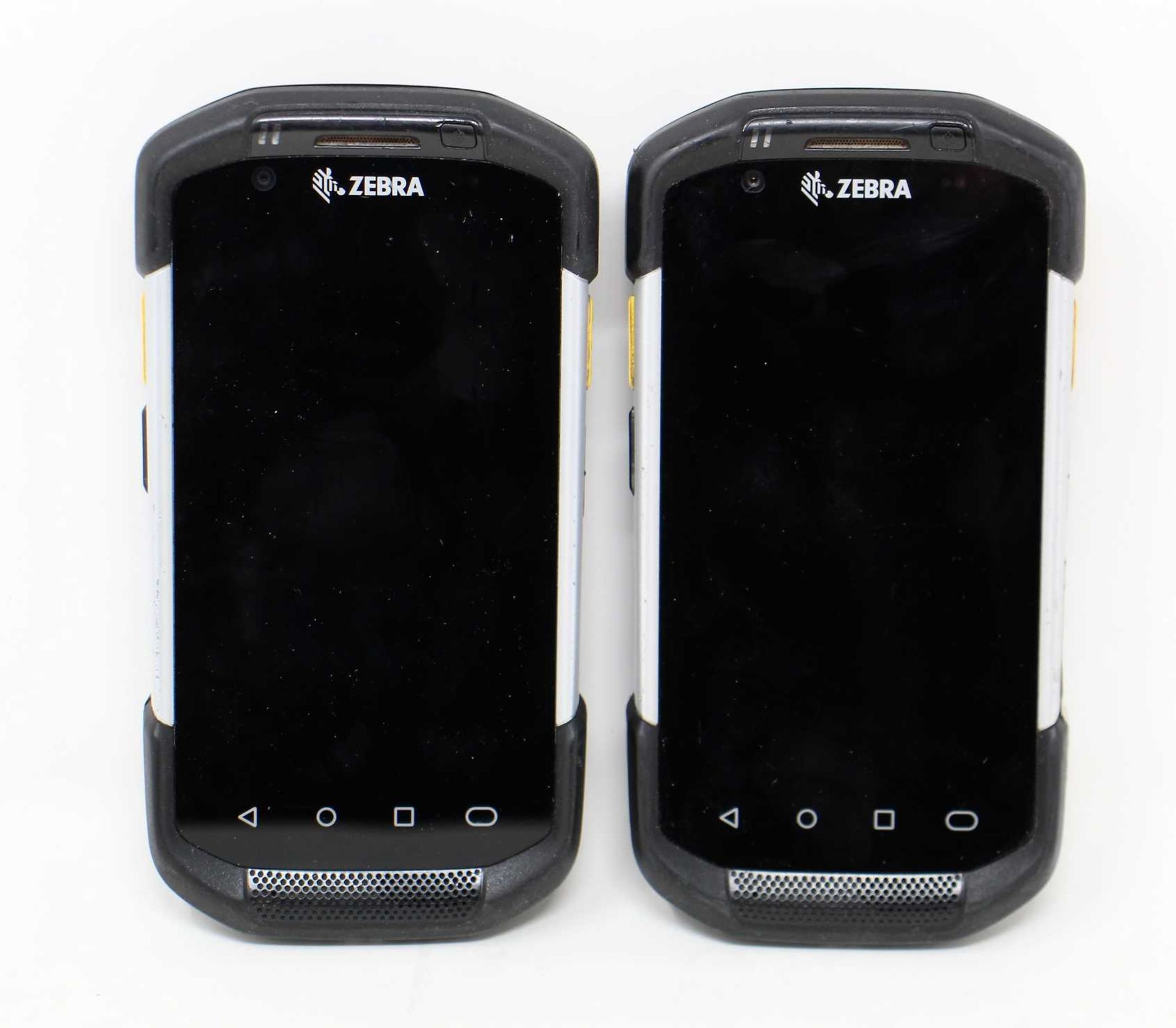 SOLD FOR PARTS: Two pre-owned Zebra TC77 Handheld Mobile Computer (M/N: TC77HL-5ME24BG-A6) (