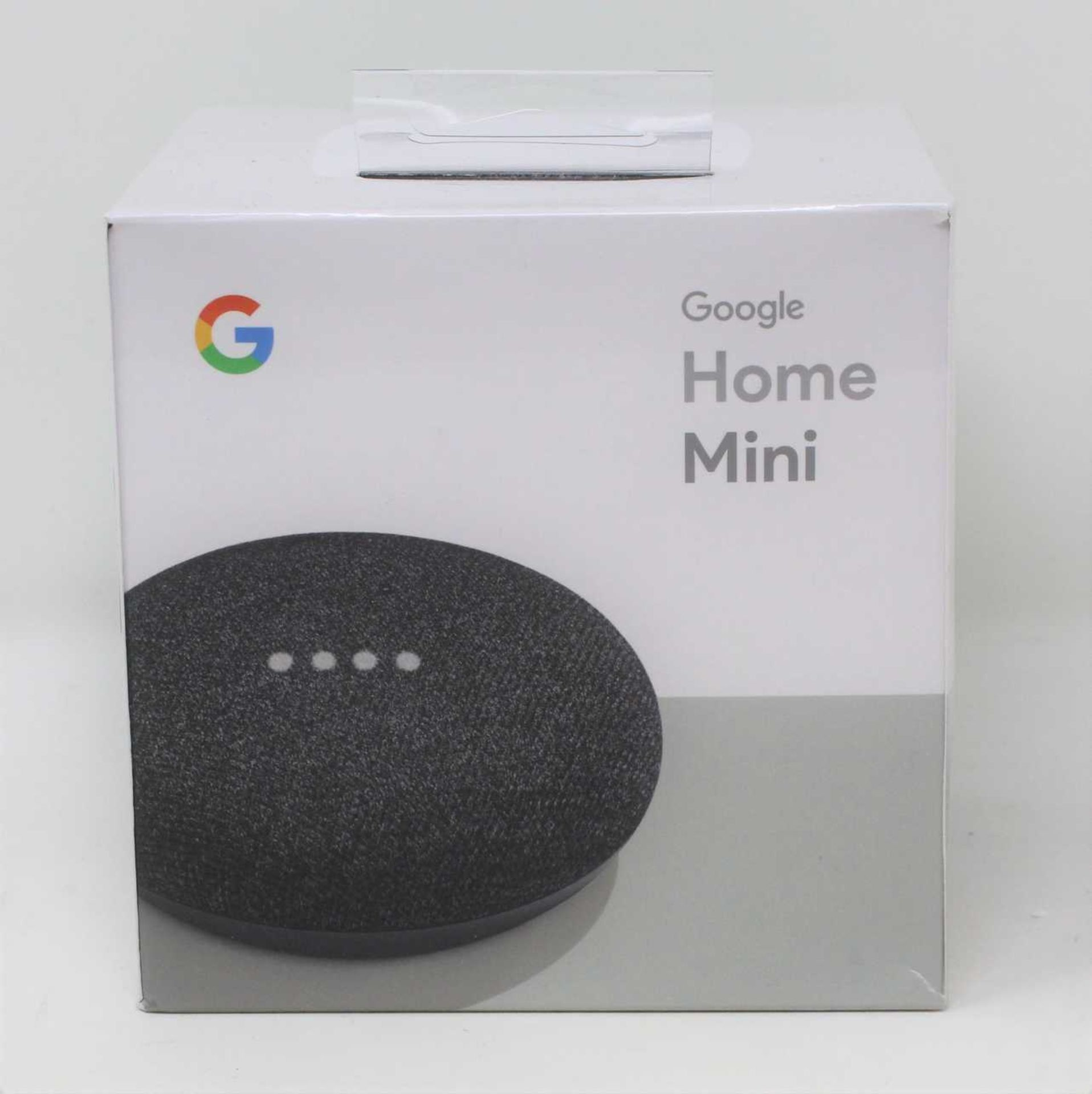 A boxed as new Google Home Mini Smart Speaker with Google Assistant in Charcoal (Model: GA00216-