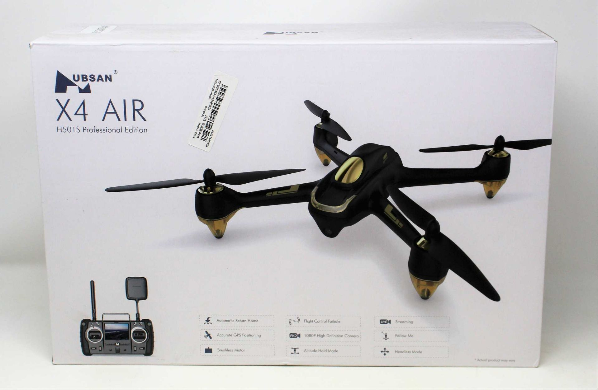 A boxed as new Hubsan X4 Air H501S Professional Edition 1080P GPS Quadcopter Drone in White (UK Plug