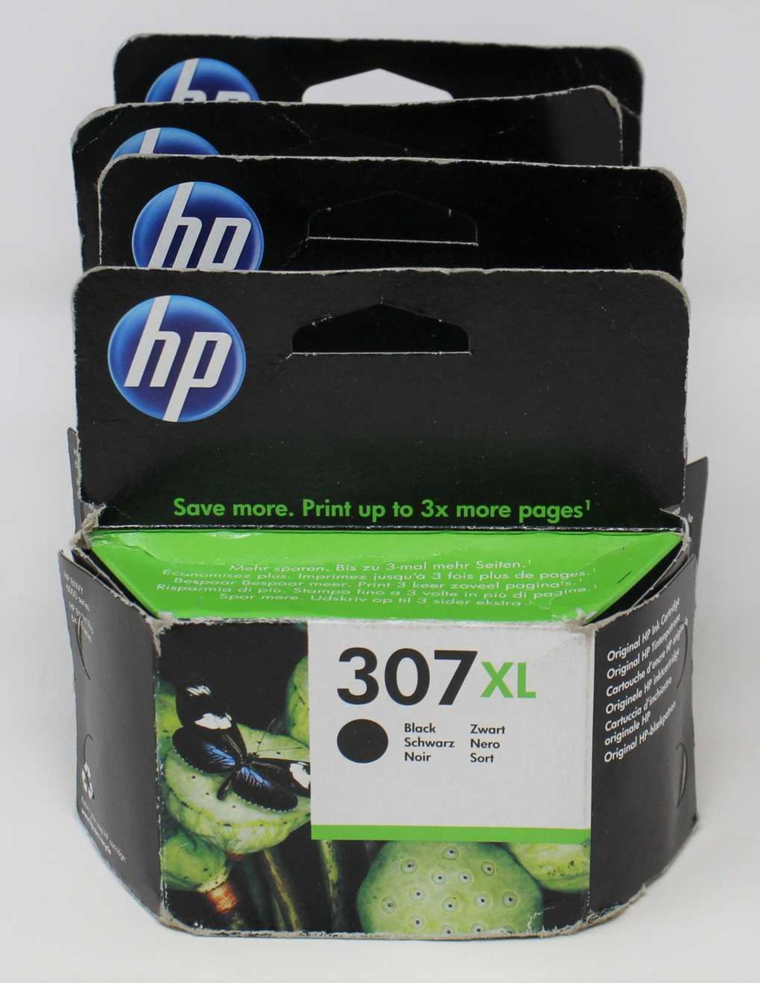 Four boxed as new HP 307 XL Black Ink Cartridges (P/N: 3YM64AE UUS) (Boxes sealed, some damage to
