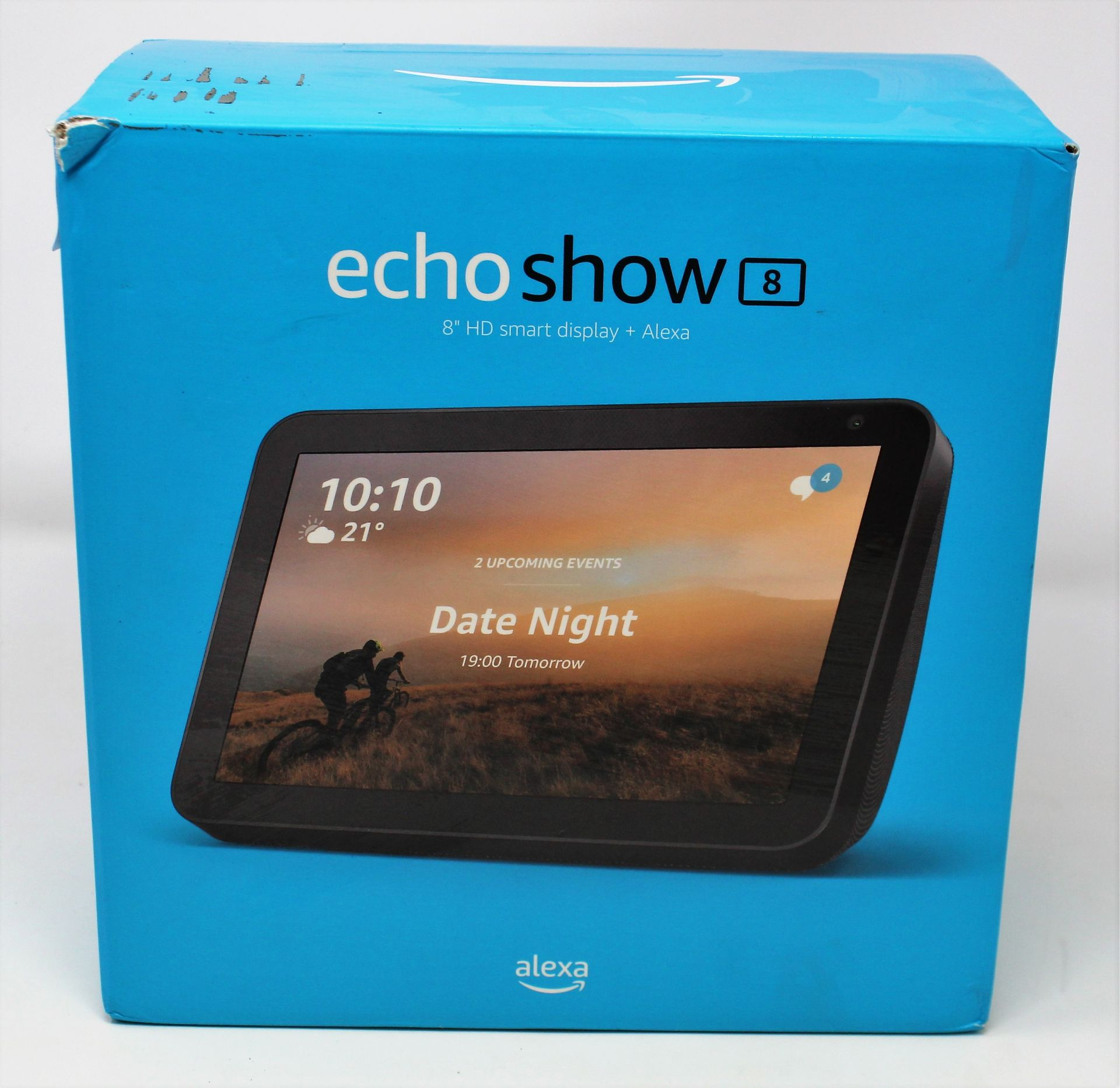 A boxed as new Amazon Echo Show 8 Smart Speaker with Alexa (Box opened, some damage to box).