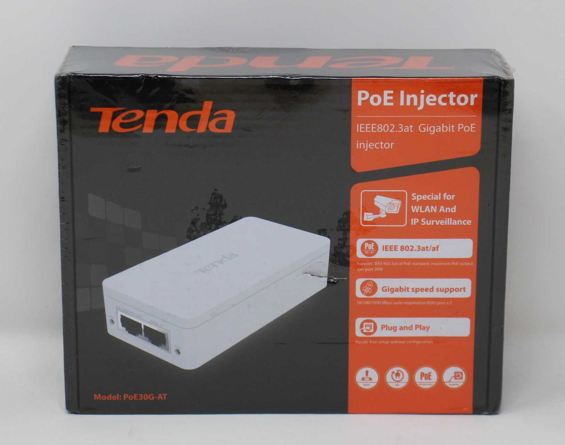 A boxed as new Tenda IEEE802.3at PoE Injector (Model: PoE30G-ATv2.0) (Box sealed).