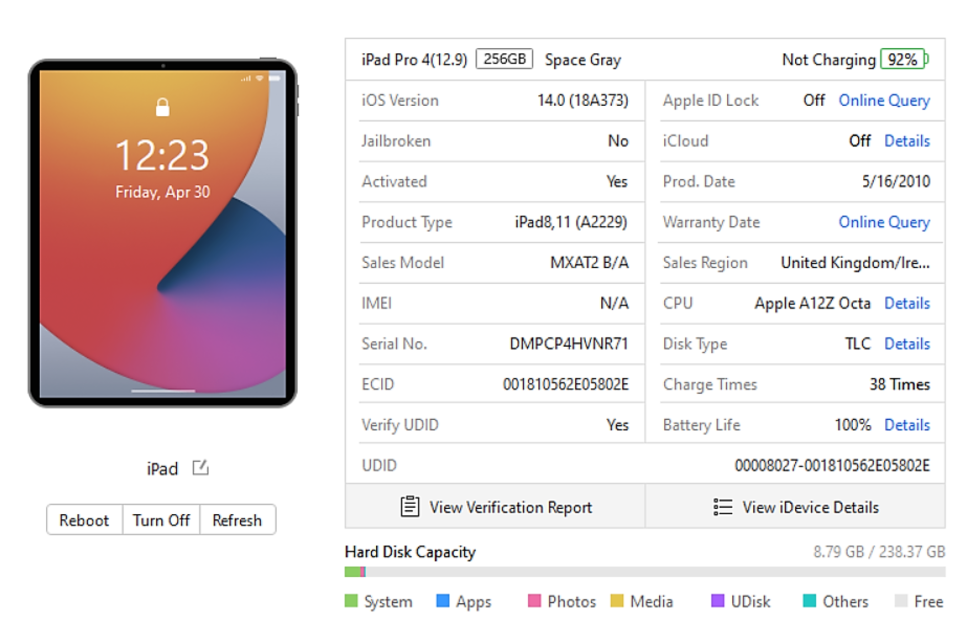 """SOLD FOR PARTS: A pre-owned Apple iPad Pro 4 12.9"""" A2229 256GB in Space Grey (Activation lock clear) - Image 3 of 8"""