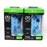 Two boxed as new PowerA Wired Controllers for Xbox One & Windows 10 in Blue (Boxes sealed, some