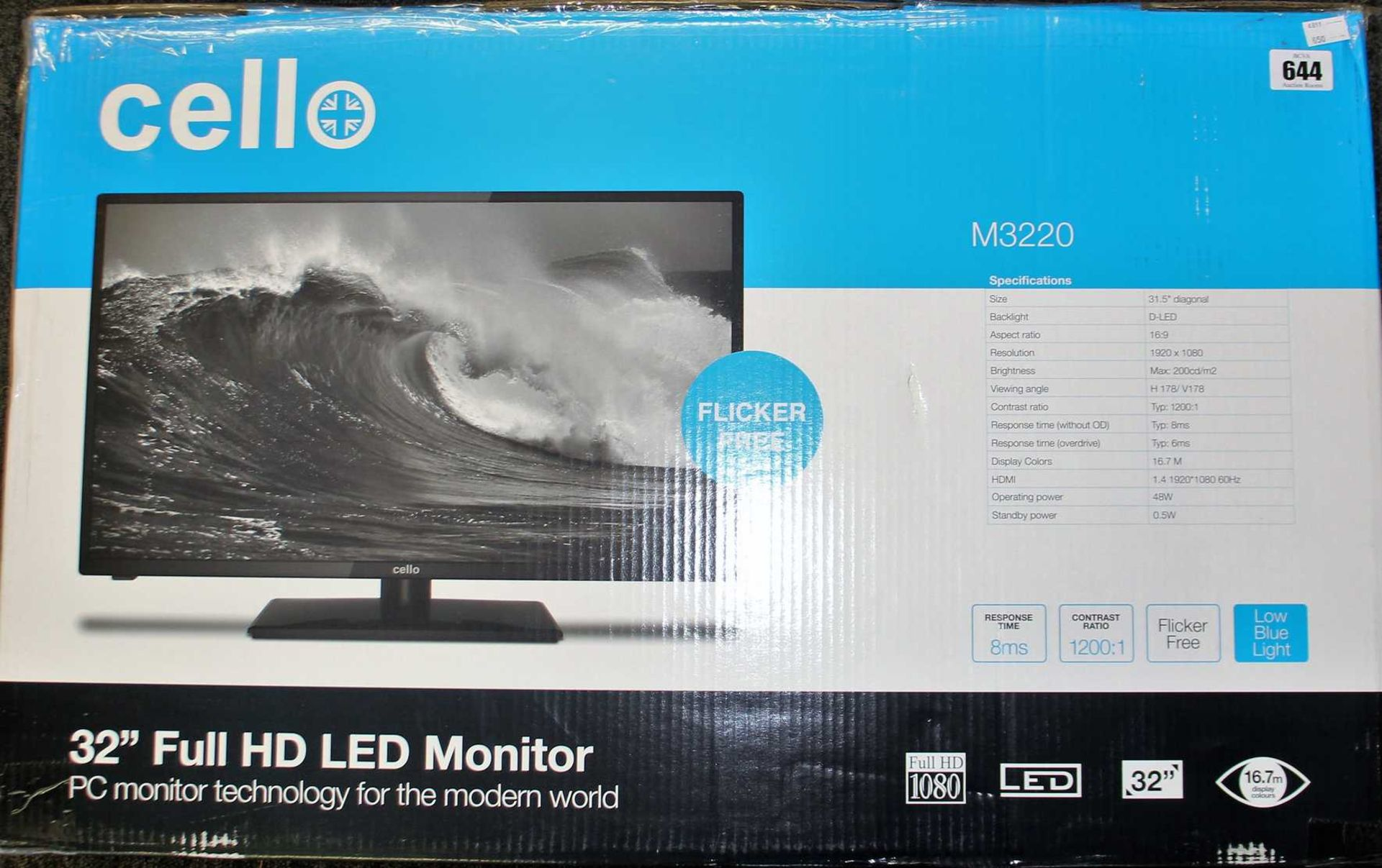 """COLLECTION ONLY: A boxed as new Cello M3220 32"""" Full HD LED Monitor (Box opened, damaged box)."""