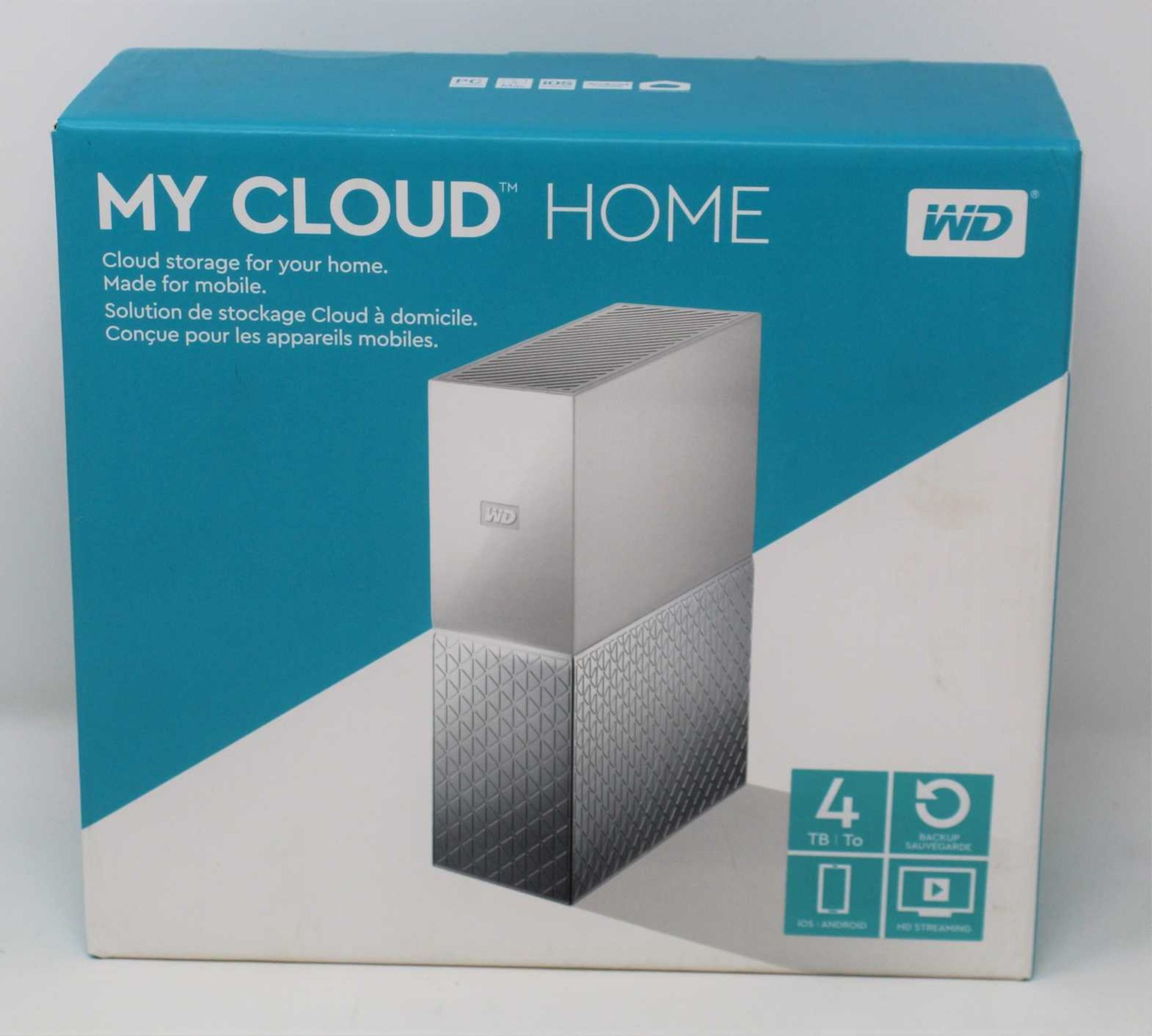 A boxed as new WD 4TB My Cloud Home External Hard Drive (Box sealed).