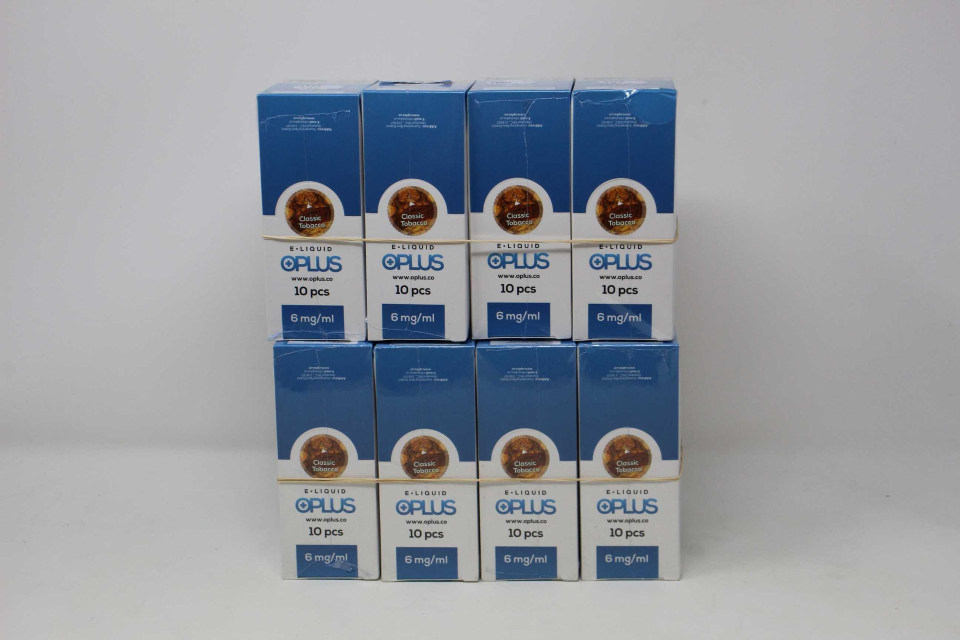 Eight boxes of ten (10ml) OPLus E-Liquid Classic Tobacco 6mg/ml (Over 18s only).