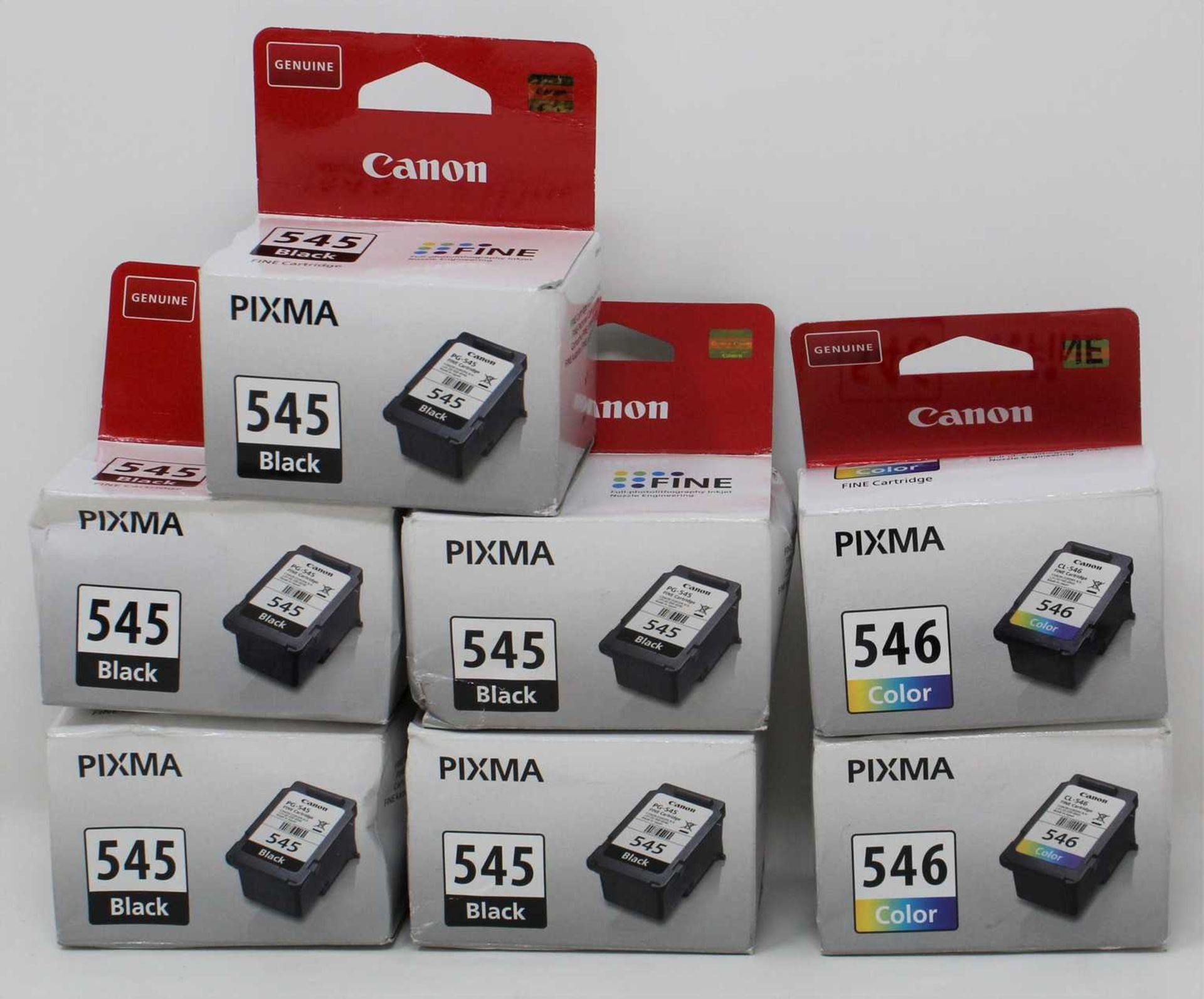 Five boxed as new Canon Pixma 545 Black Ink Cartridges (PG-545 8ml) and two boxed as new Canon Pixma