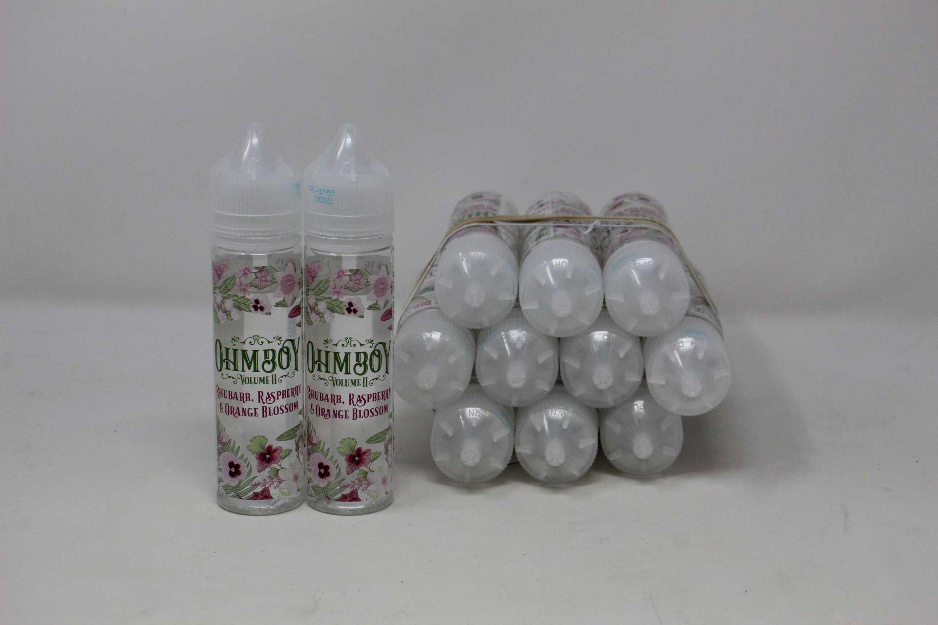 Twelve as new bottles of OHM Boy Volume II Rhubarb, Raspberry & Orange Blossom Botanicals E-Liquid