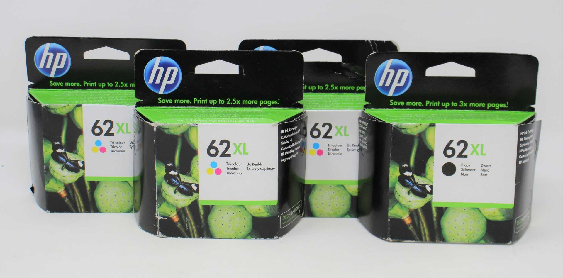 Three boxed as new HP 62XL Tri-color Ink Cartridges (C2P07AE ABE) (Expiry: July 2022) and one