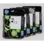 Four boxed as new HP 15 Black Ink Cartridges (P/N: C6615DE) (Boxes sealed, some damage to boxes).