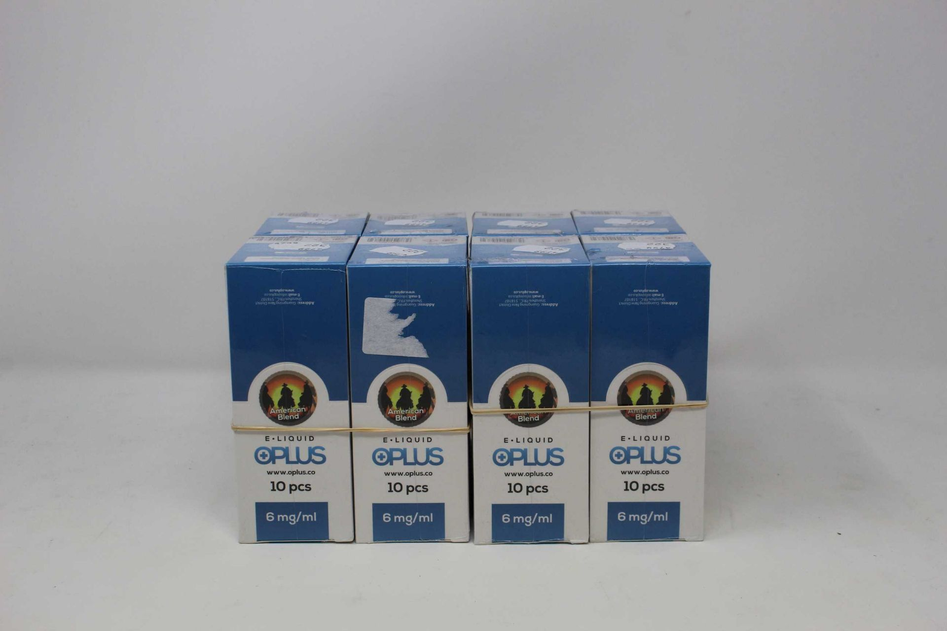 Eight boxes of ten (10ml) OPLus E-Liquid American Blend 6mg/ml (Over 18s only).