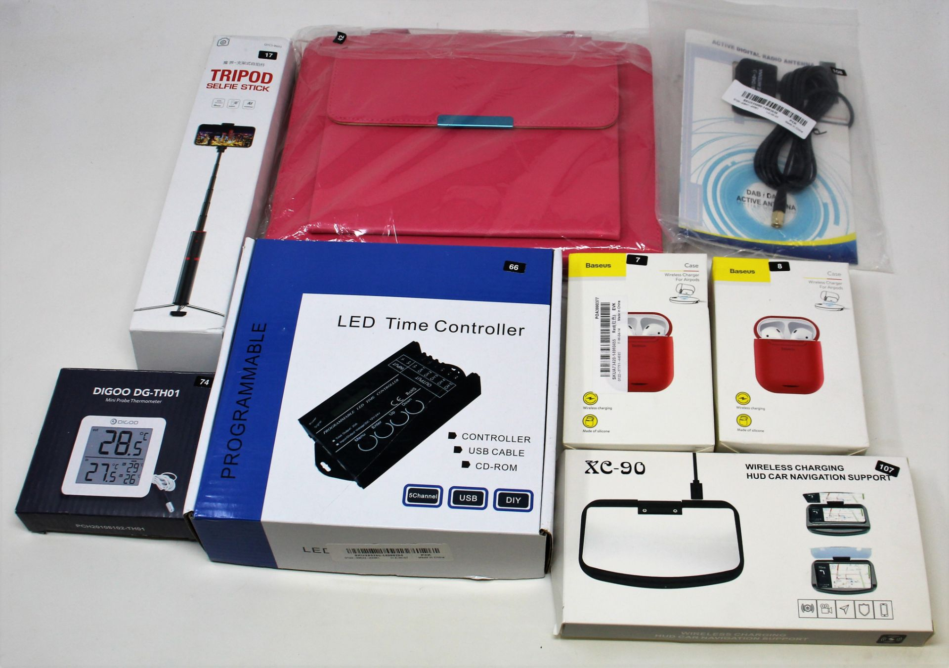 A box of assorted as new electrical items and accessories to include Airpod Charging Cases, LED - Image 3 of 10