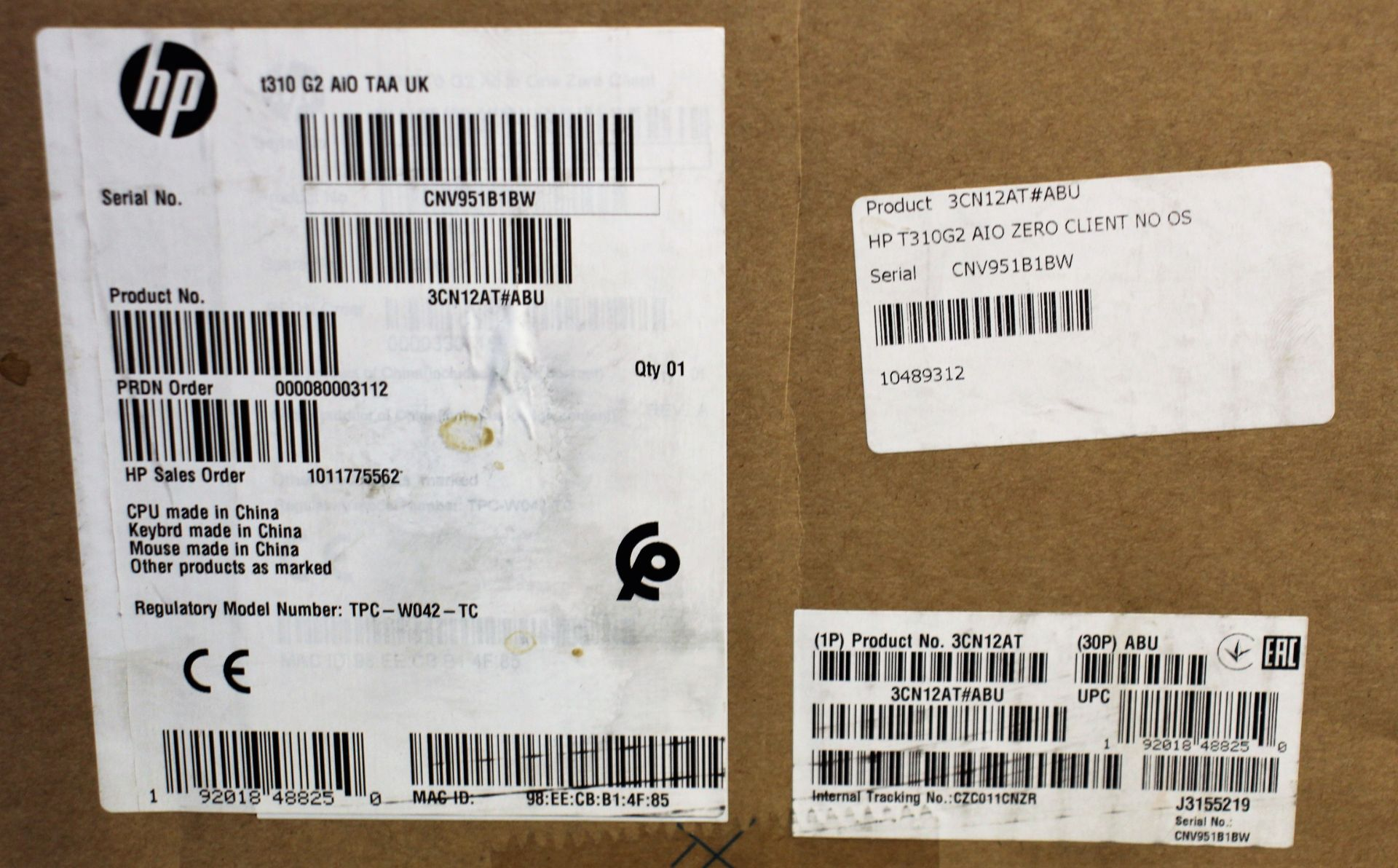 A boxed as new HP t310 G2 All-in-One Zero Client (No OS) (P/N: 3CN12AT#ABU Serial: CNV951B1BW) ( - Image 2 of 3