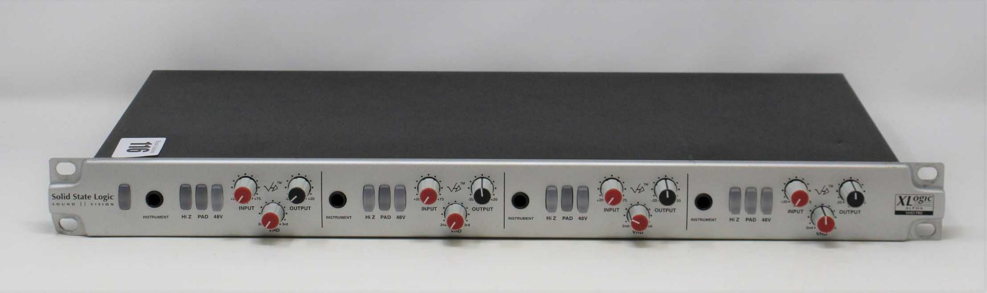 A pre-owned Solid State Logic XLogic Alpha VHD Pre 4-Channel Mic Preamp (Some damage. No power
