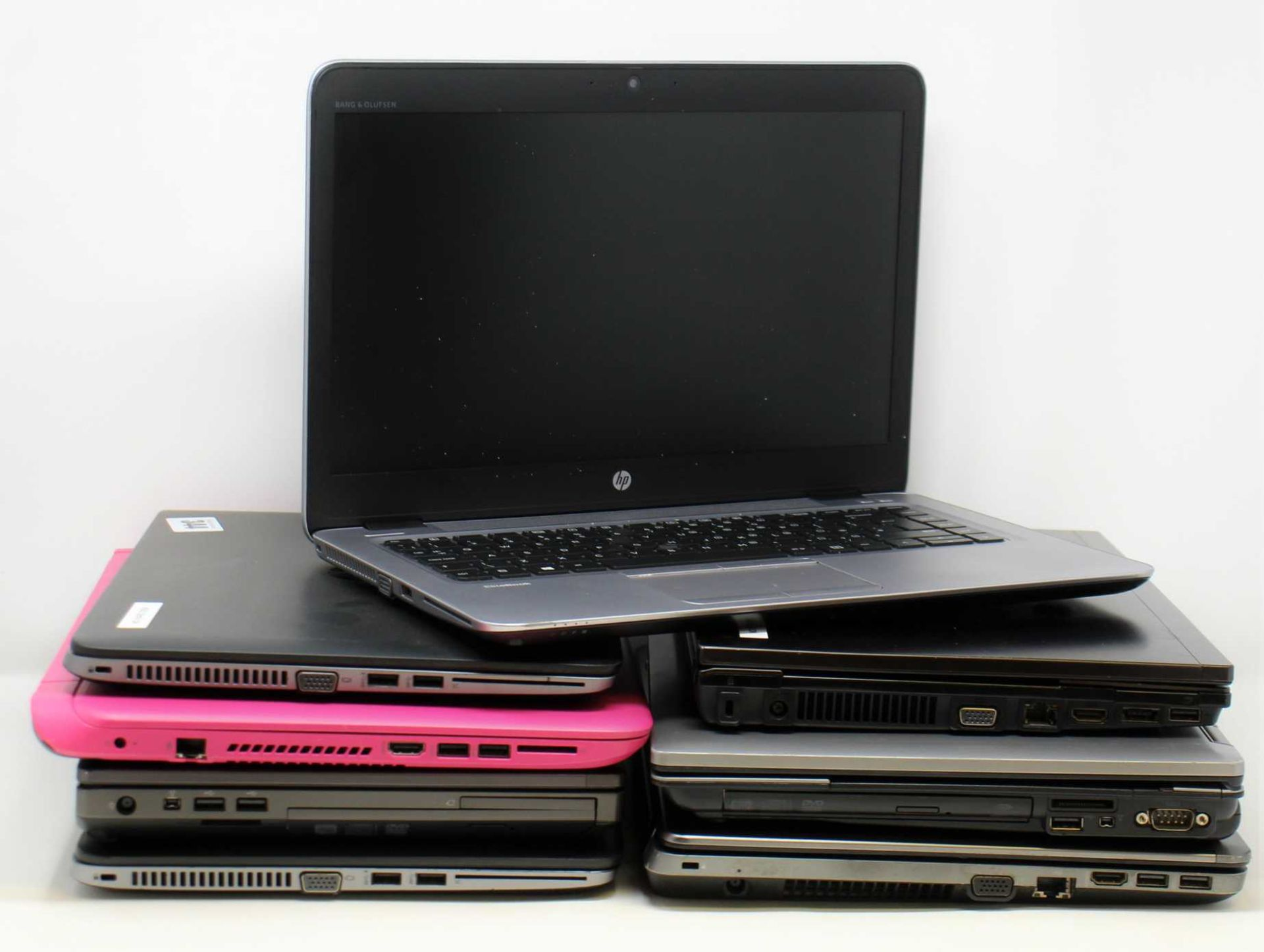 SOLD FOR PARTS, COLLECTION ONLY: Eight pre-owned HP Laptops sold for parts; 2 x HP EliteBook 840 (