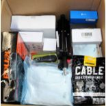 COLLECTION ONLY: A box of assorted new and pre-owned small electrical items and accessories.