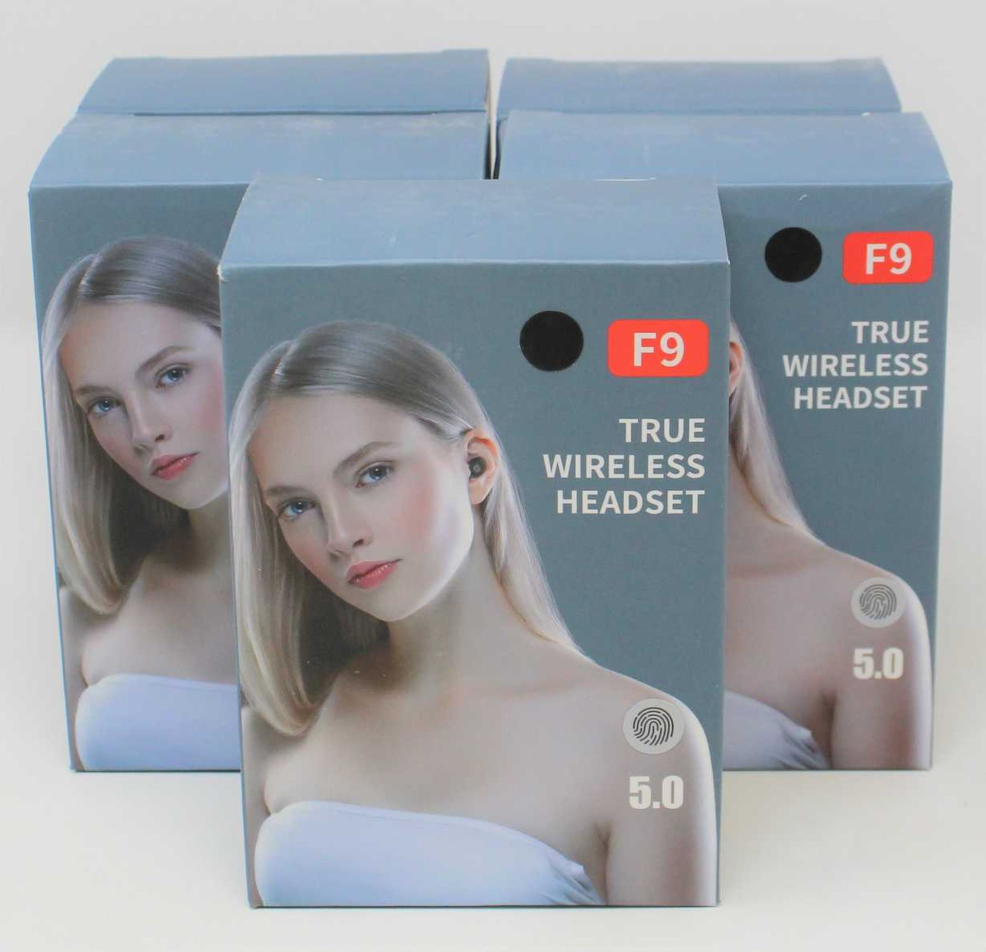 Five boxed as new F9 True Wireless 5.0 Headset Bluetooth earbuds with charging cases (Some damage to