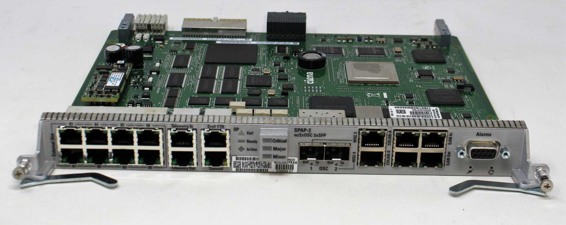 A pre-owned Ciena NTK555NA WOCUAZPKAA SPAP-2 w/2x0SC 2xSFP Shelf Processor (Untested, sold as