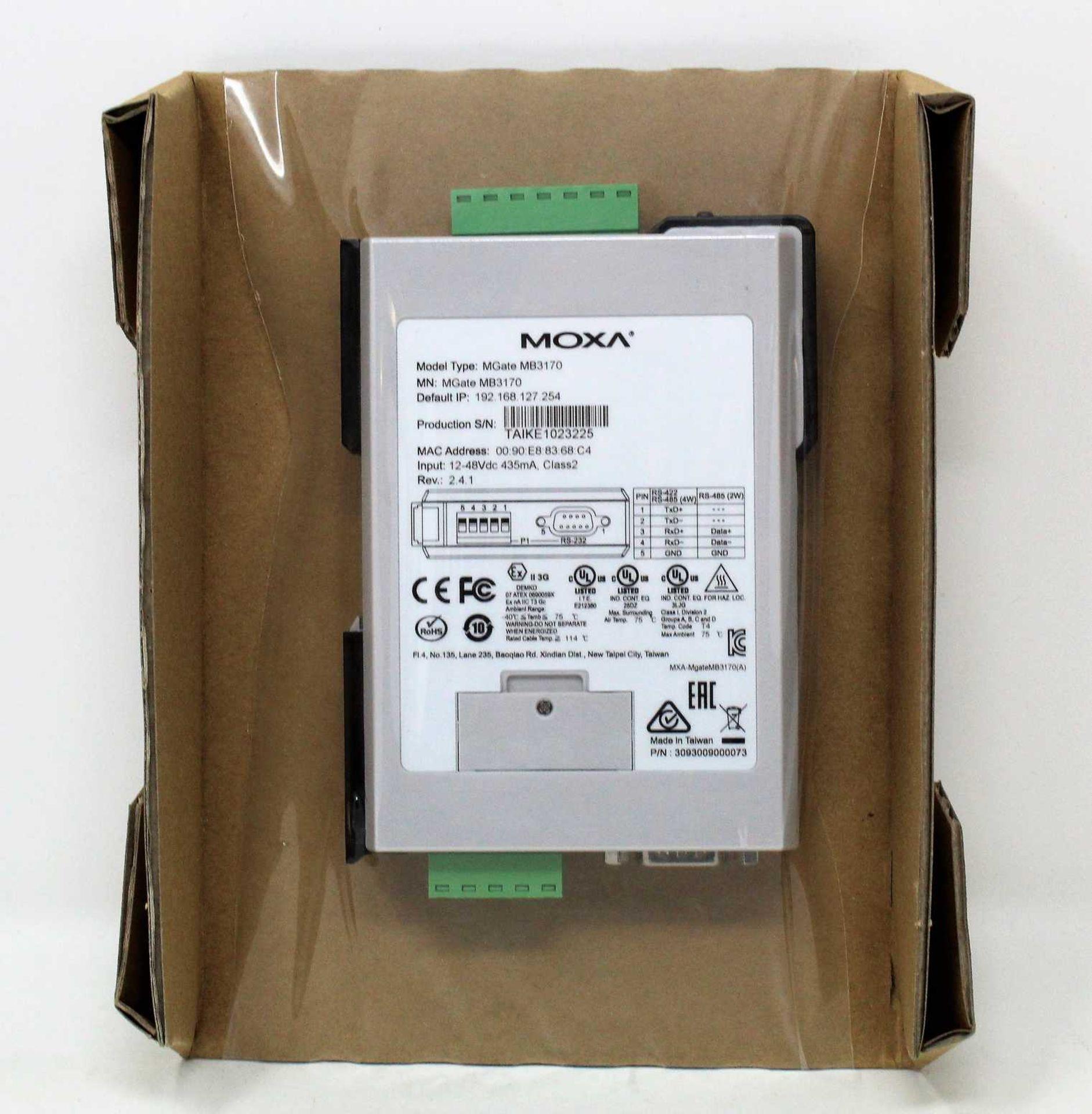 A boxed as new Moxa MGate MB3170 V2.4.1 Advanced Serial-to-Ethernet Modbus Gateway (P/N: