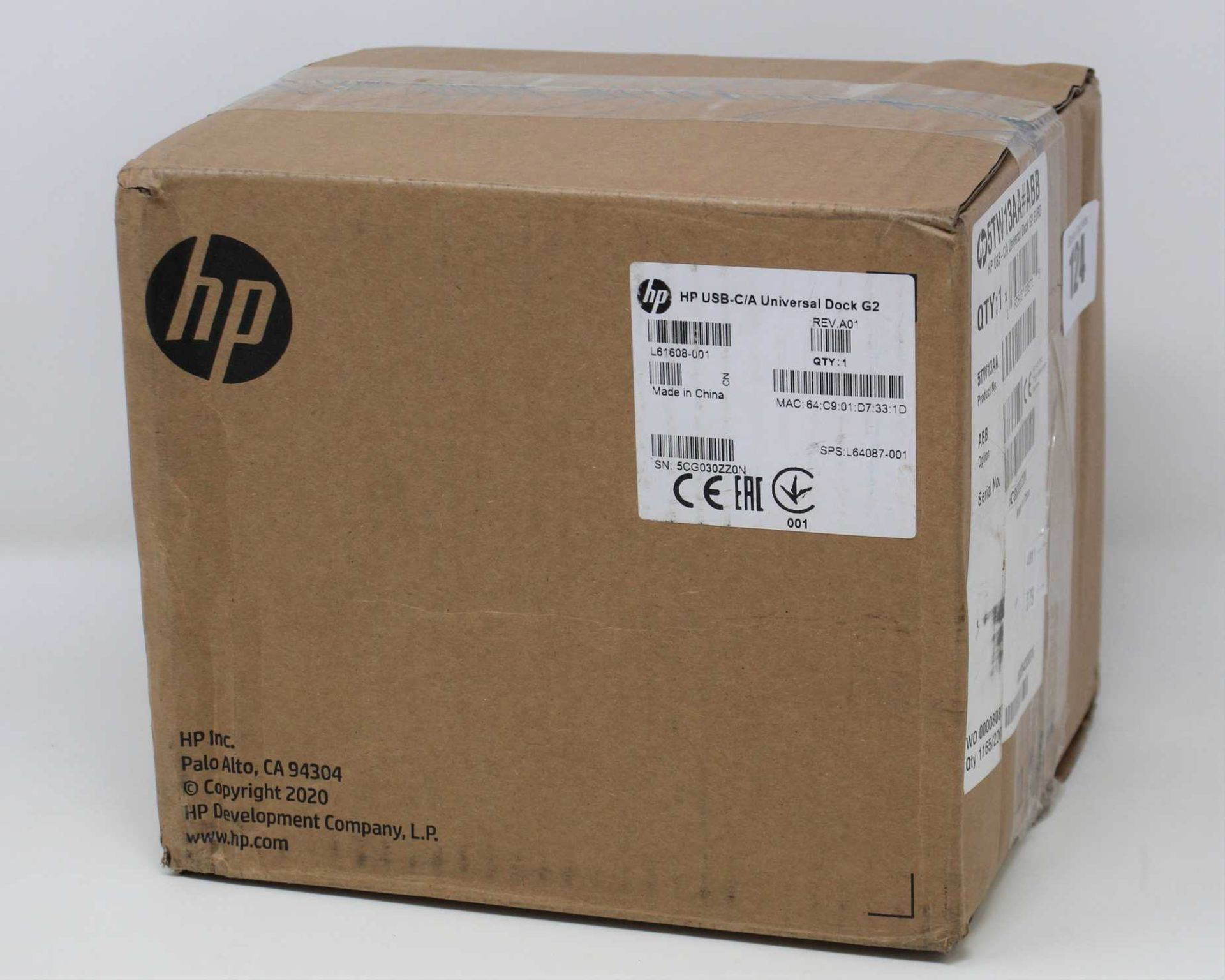 A boxed as new HP USB-C/A Universal Dock G2 (EURO 5TW13AA#ABB) (Box sealed, some damage to box).