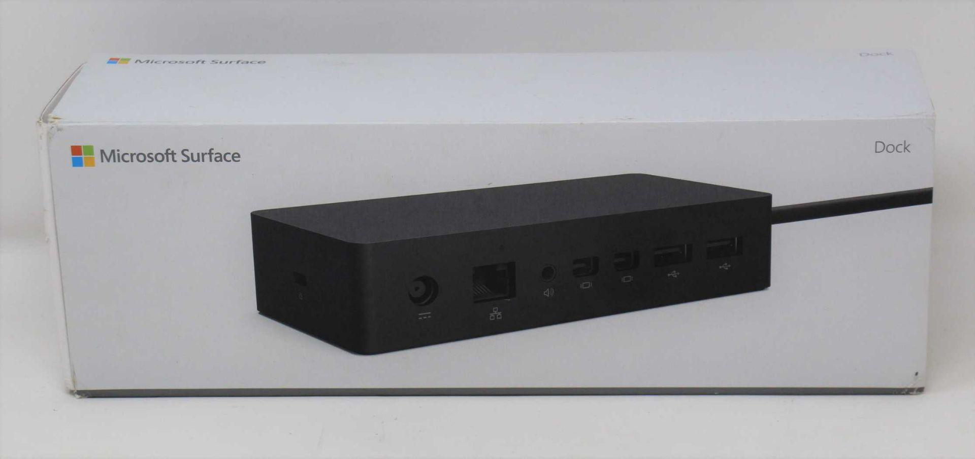 A boxed as new Microsoft Surface Dock PF3-00012 (Box sealed, some damage to box).