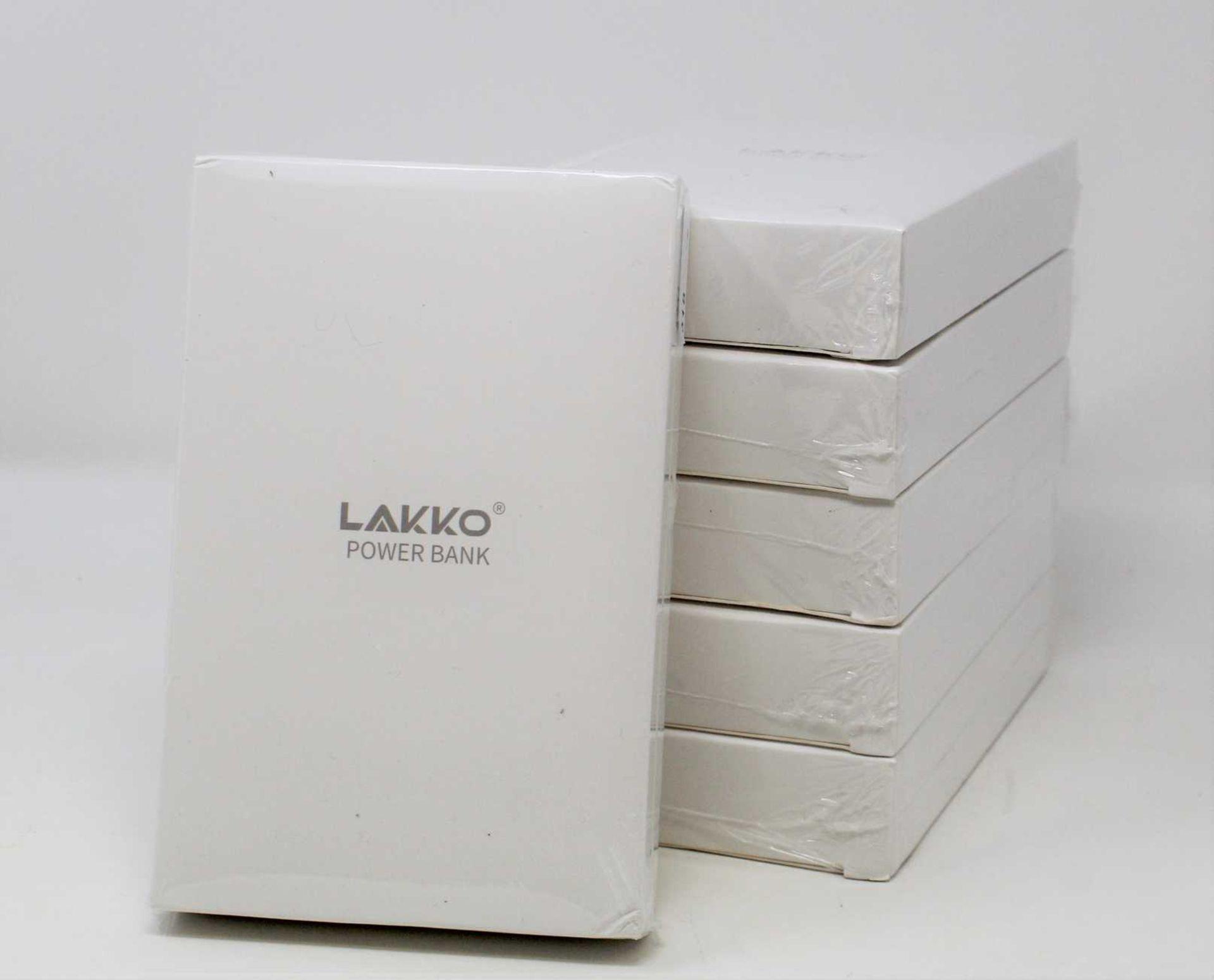 Six boxed as new Lakko 13800mAh Mini Power Banks in Black (Boxes sealed).