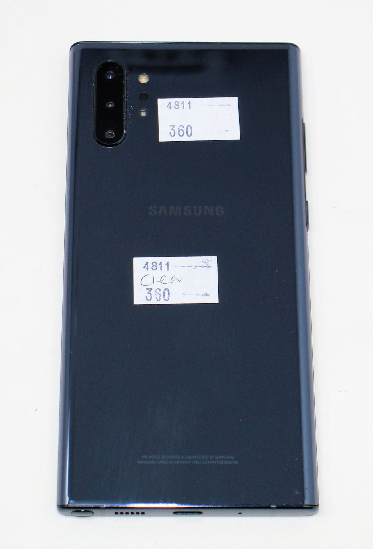 A pre-owned Samsung Galaxy Note 10+ SM-N975U 256GB in Black (FRP clear) (Checkmend report ID: - Image 7 of 8