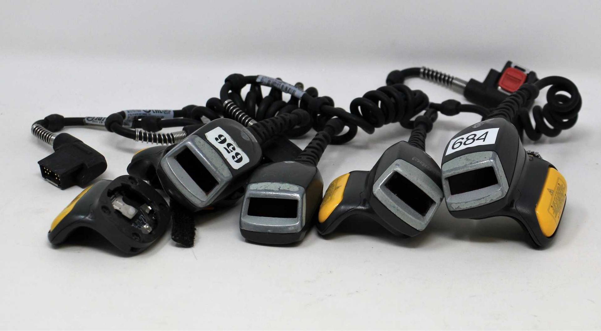SOLD FOR PARTS: Four pre-owned Zebra RS419 Ring Barcode Scanners (M/N: RS419-HP2000FSR) (All