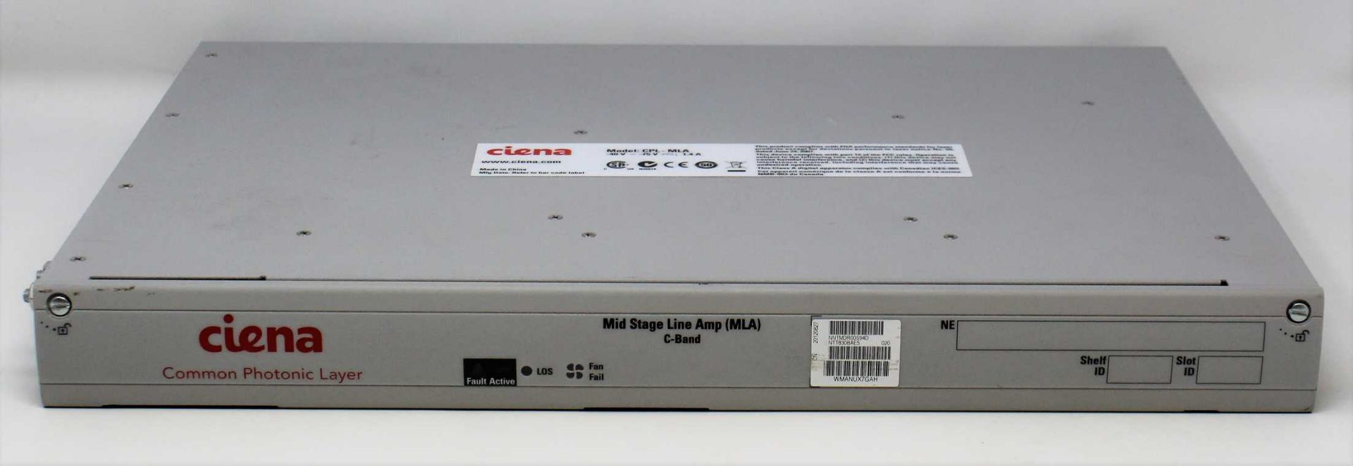 A pre-owned Ciena NTT830BAE5 Common Photonic Layer Mid Stage Line Amp C-Band (NNTMDR00S94D) (