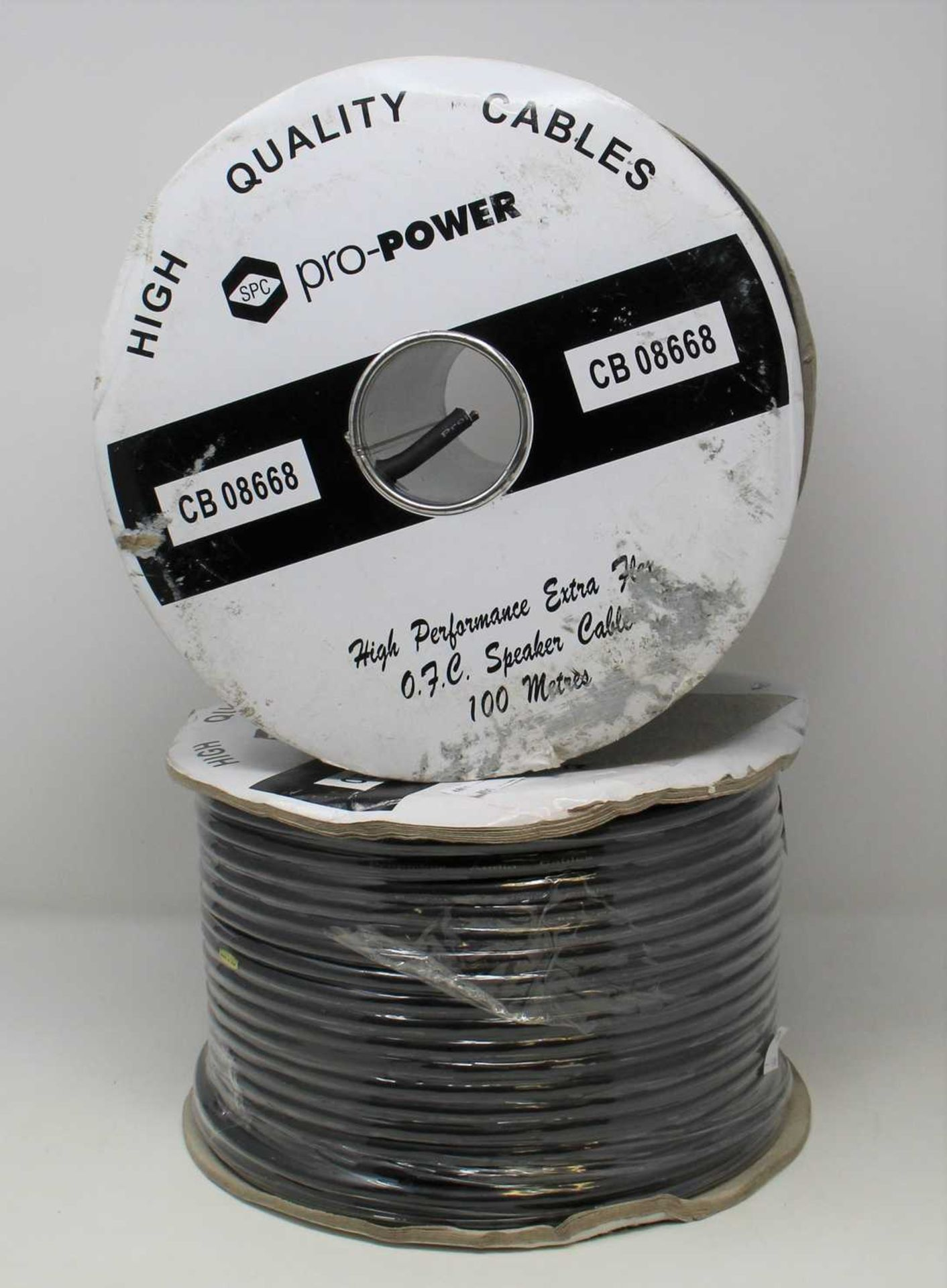 Two as new 100m Reels of SPC Pro-Power CB 08668 High Performance Extra Flex 0.7.C Speaker Cable in