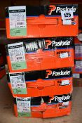 Four Paslode 141076 3.1 x 90mm Round Smooth Shank Nails x 2200 with 2 Fuel Cells (Some damage to
