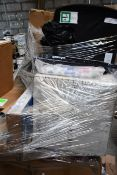 A pallet of miscellaneous furniture and related items.