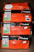 Four Paslode 141233 3.1 x 90mm Round Smooth Shank Nails x 2200 with 2 Fuel Cells (Some damage to