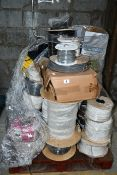 A pallet of miscellaneous wire/cabling and related.