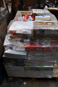 A pallet of assorted printer paper.