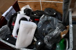 A quantity of miscellaneous gym weights to include dumbbells and kettlebells.