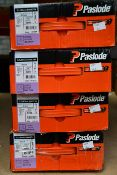Four Paslode 141234 3.1 x 90mm Round Smooth Shank Nails x 2200 with 2 Fuel Cells (Some damage to