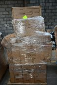 A pallet of miscellaneous flat pack furniture, household and related items.