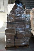 A pallet of miscellaneous face masks, gloves and related PPE items.