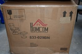 A boxed HOMCOM PVC Reclining Executive Chair with footrest stool in brown.