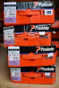 Four boxes of Paslode 141074 Galvanised Brads x 2200, 3,1 x 90mm Ring with 2 Fuel Cells (Some damage