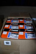 Six boxes of Paslode 921591 1.6 x 50mm F16 Straight Brads x 2000 with 2 Fuel Cells.