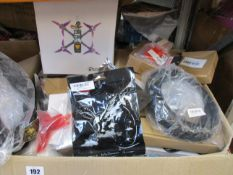 A box of assorted electrical items to include keyboards and mouse, drone, portable drive and